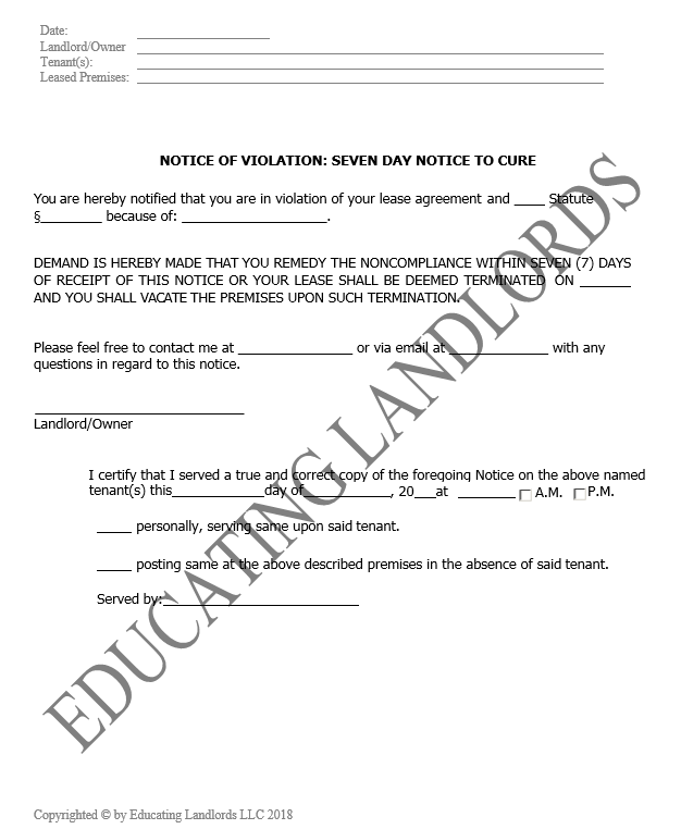 Preview of the Eviction – 7 Day CureNotice document.