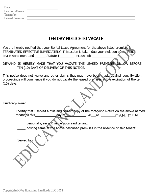 Preview of the Eviction – 10 Day No CureNotice document.