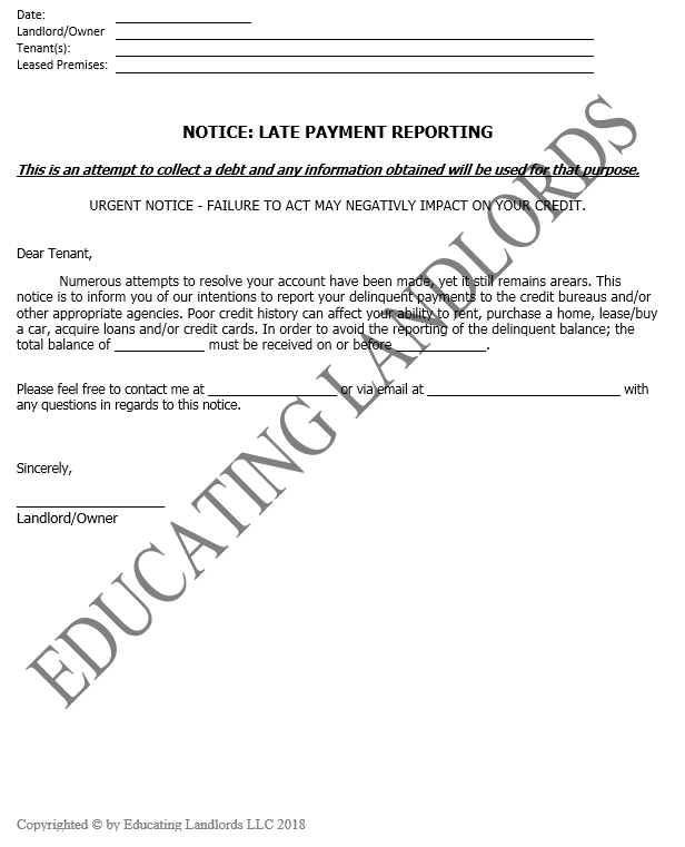 Preview of theNotice – Late Payment Reporting document.