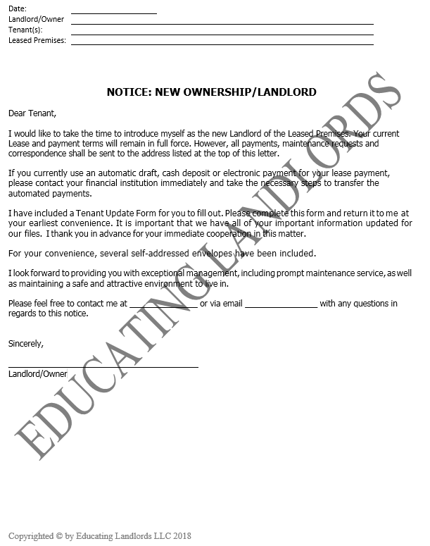 Preview of the Notice – New Owner Instructionsdocument.