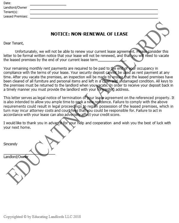 Preview of the Notice – Non-renewal document.