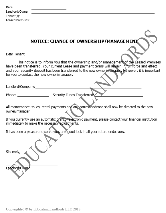 Preview of the Notice – Ownership Change document.