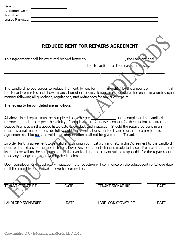 Preview of the Notice – Repair for Reduced Rentdocument.