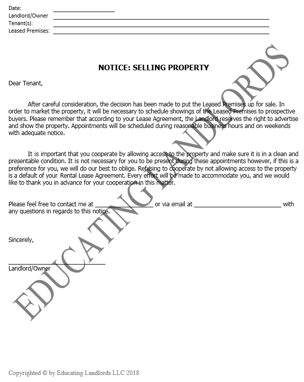 Preview of the Notice – Selling Propertydocument.