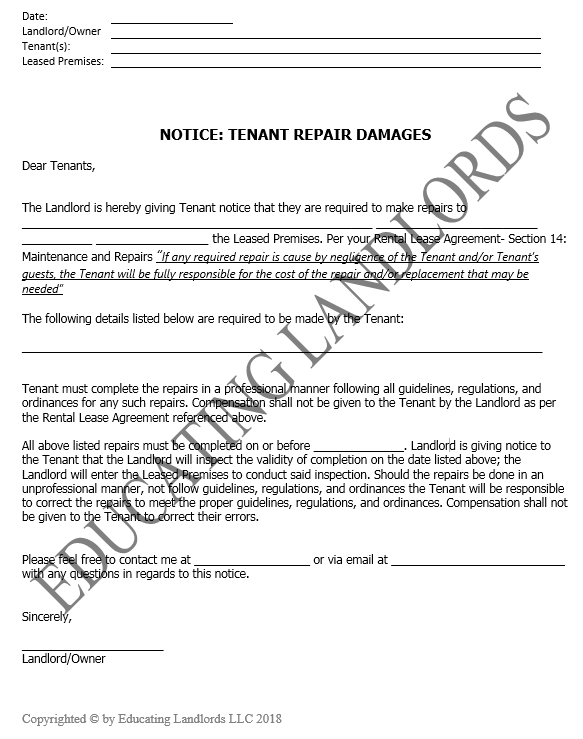 Preview of the Notice – Tenant Repair Damage document.