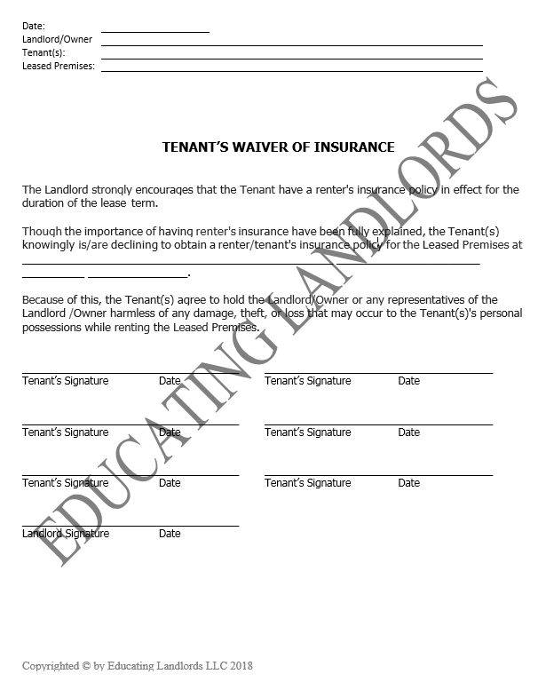 Preview of the Notice – Tenant Waiver of Insurancedocument.