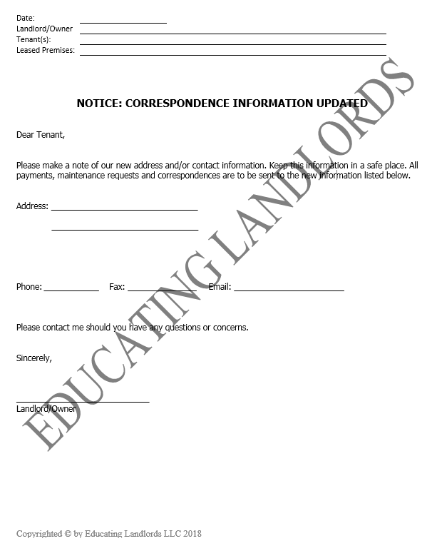 Preview of the Notice –  Update Correspondence Informationdocument.