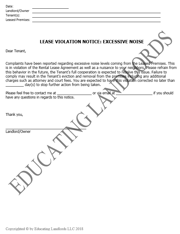 Preview of the Notice – Violation – Excessive Noisedocument.