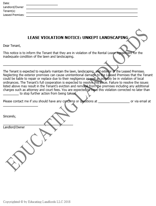 Preview of the Notice – Violation – Lawn Maintenancedocument.