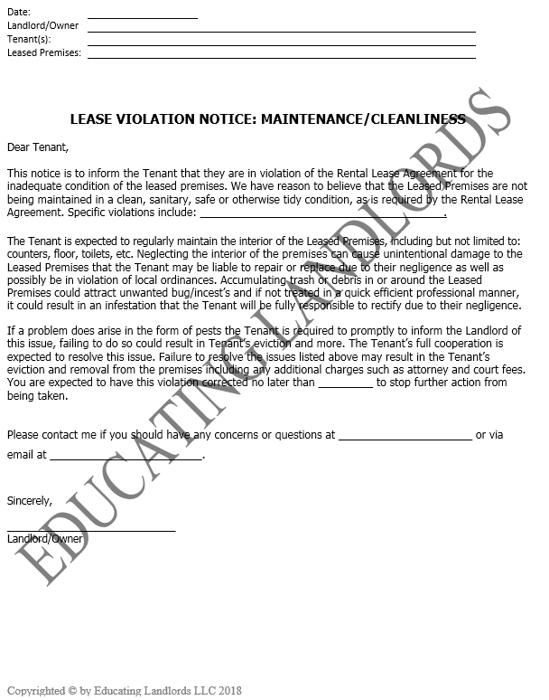 Preview of the Notice – Violation – Maintenancedocument.