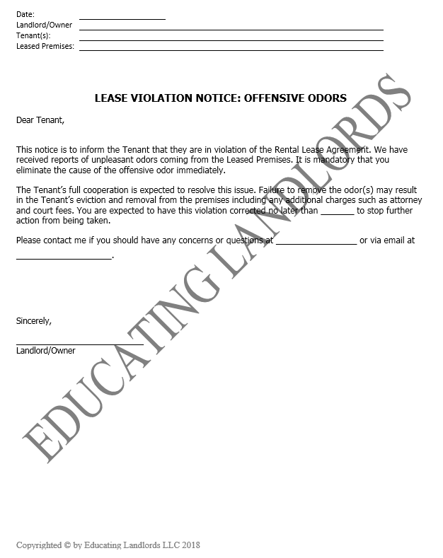 Preview of the Notice – Violation – Offensive Odor document.