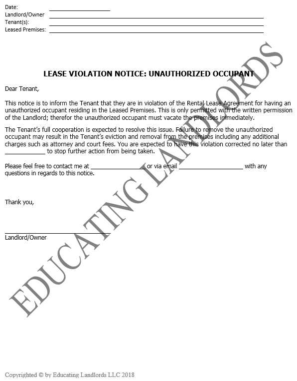 Preview of the Notice – Violation – Unauthorized Occupantsdocument.