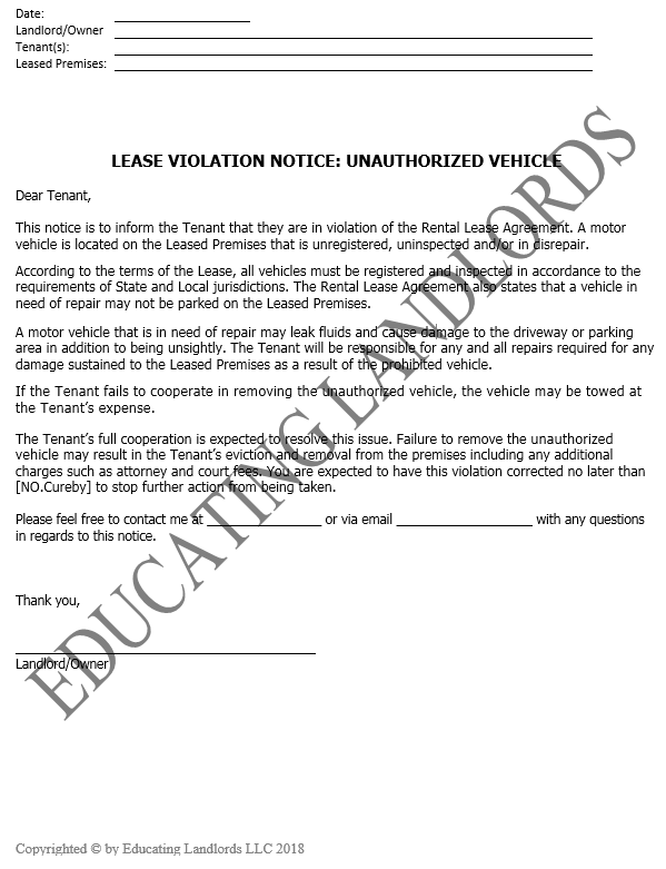 Preview of the Notice – Violation – Unauthorized Vehicle document.