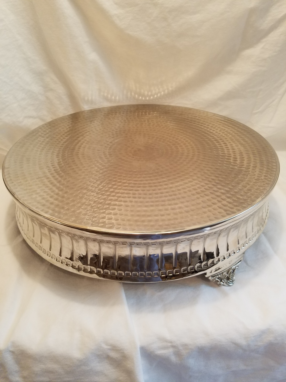 Large silver cake stand