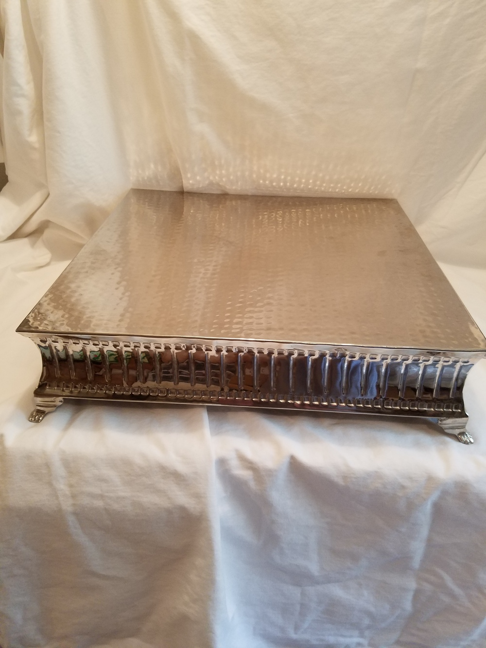 Large square silver cake stand