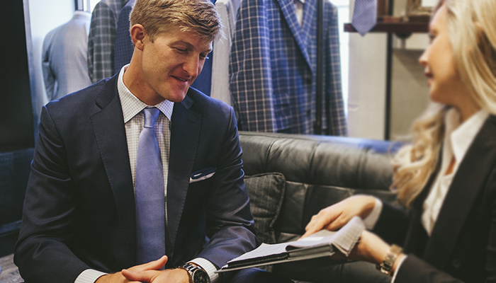 Full Showroom & Master Tailor See and touch 100s of fine fabrics and finished garments, from designer mills like Ermengildo Zegna, Vitale Barberis Canonico, & Loro Piana.