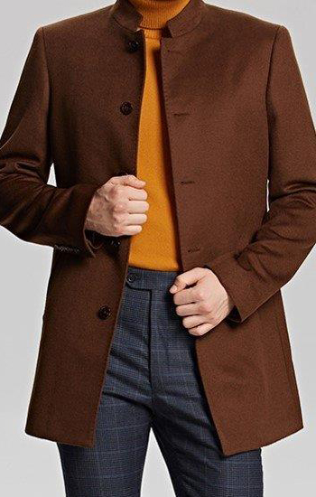 Brown Mandarin Collar Jacket