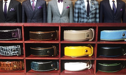 Custom Leather Belts - Handcrafted in the USA, these leather belts are made just for you. Select a leather, buckle, thread color, and monogram, $225+.