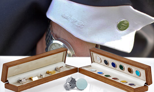 Bespoke Cufflinks - Exclusive to bespoke tailors, Deumer 1863's Bespoke 925 sterling silver cuff-links are available in 6 different shapes and 6 semi precious stones or 12 different precious enamel colors to be put on either side of the cuff-link, engraving additional, $225+.