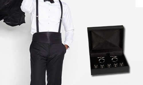 Stud Set, Suspenders, & More - Studs are a must have for any tuxedo shirt. Step up your game with mother of pearl, or choose from other stud set finishes. We also carry suspenders, or braces, with traditional button attachment, and the cumberbund for those bound in tradition.