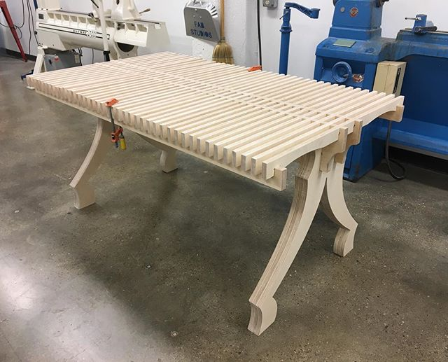 In the final stages of a collaboration with the infamous Bill Brouillard. #collab #diningtable #cnc #plywoodfurniture