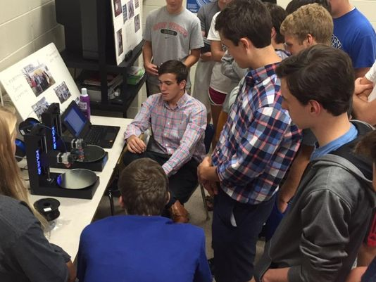 Polar 3D's Nick Jones teaches a Mariemont High School class how to use 3D printing.