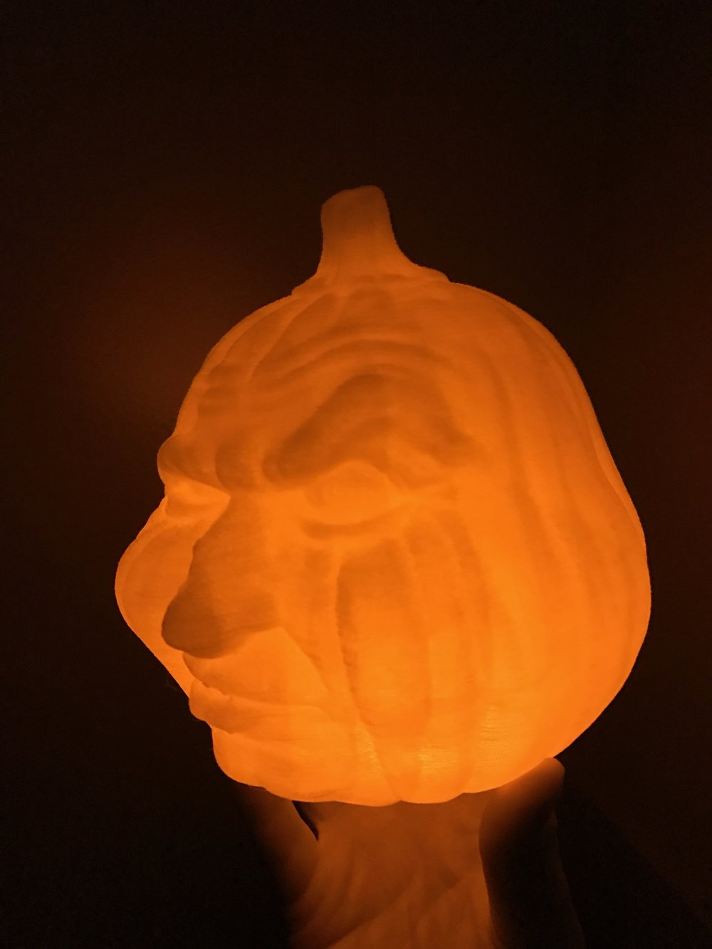 A 3D Printed Jack O Lantern with an LED candle inside lights up the whole print!