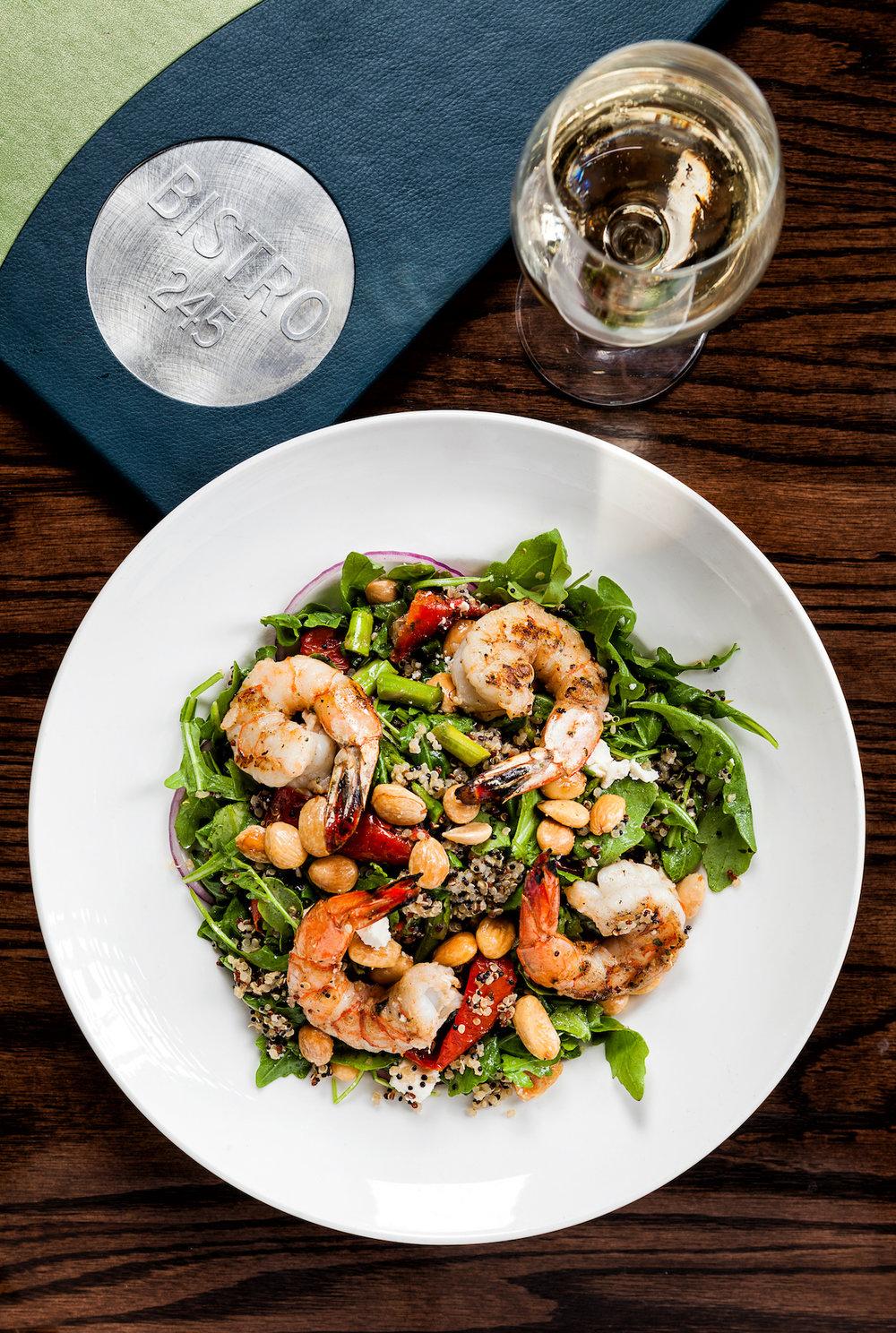 shrimp salad and wine at bistro 245 at margaritaville key west resort & marina.jpg