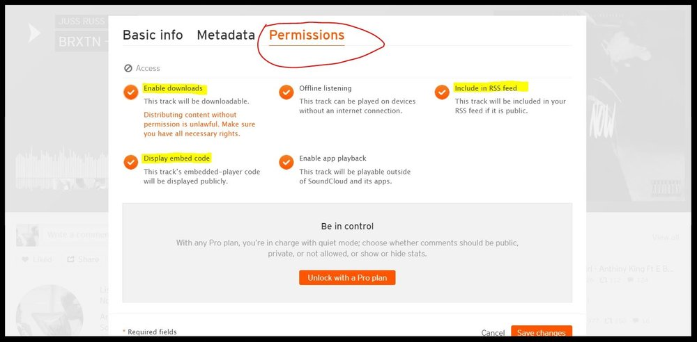soundcloud permissions