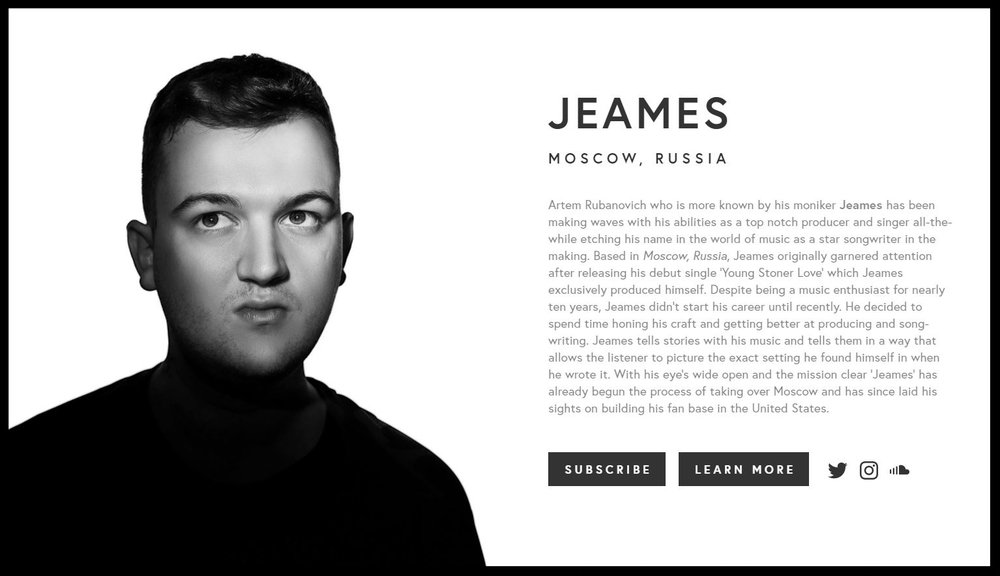 Take a moment to check out  JeamesMusic.com  to see an example of our mobile designs for musicians