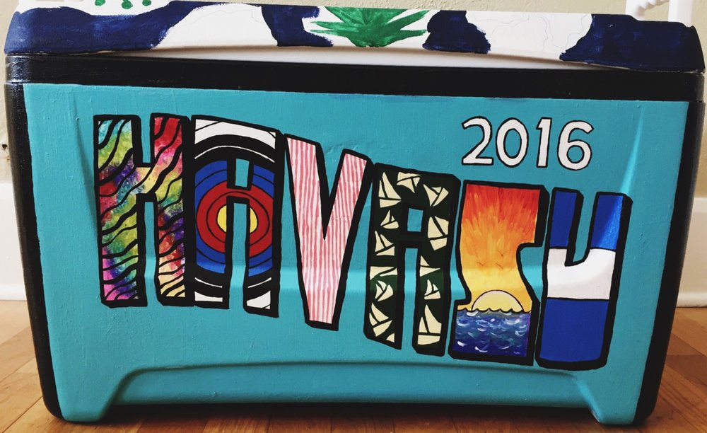 Front of cooler designed and painted for Beta Theta Pi's spring formal.