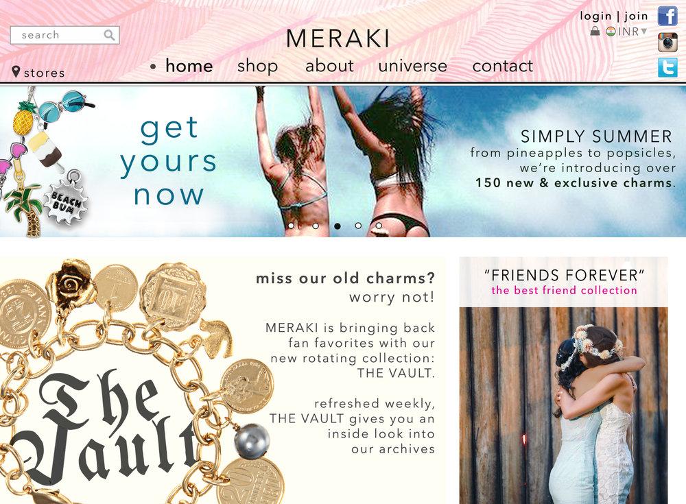 """Website design for hypothetical brand, """"Meraki."""" Done for LeftSide Design Advertising."""