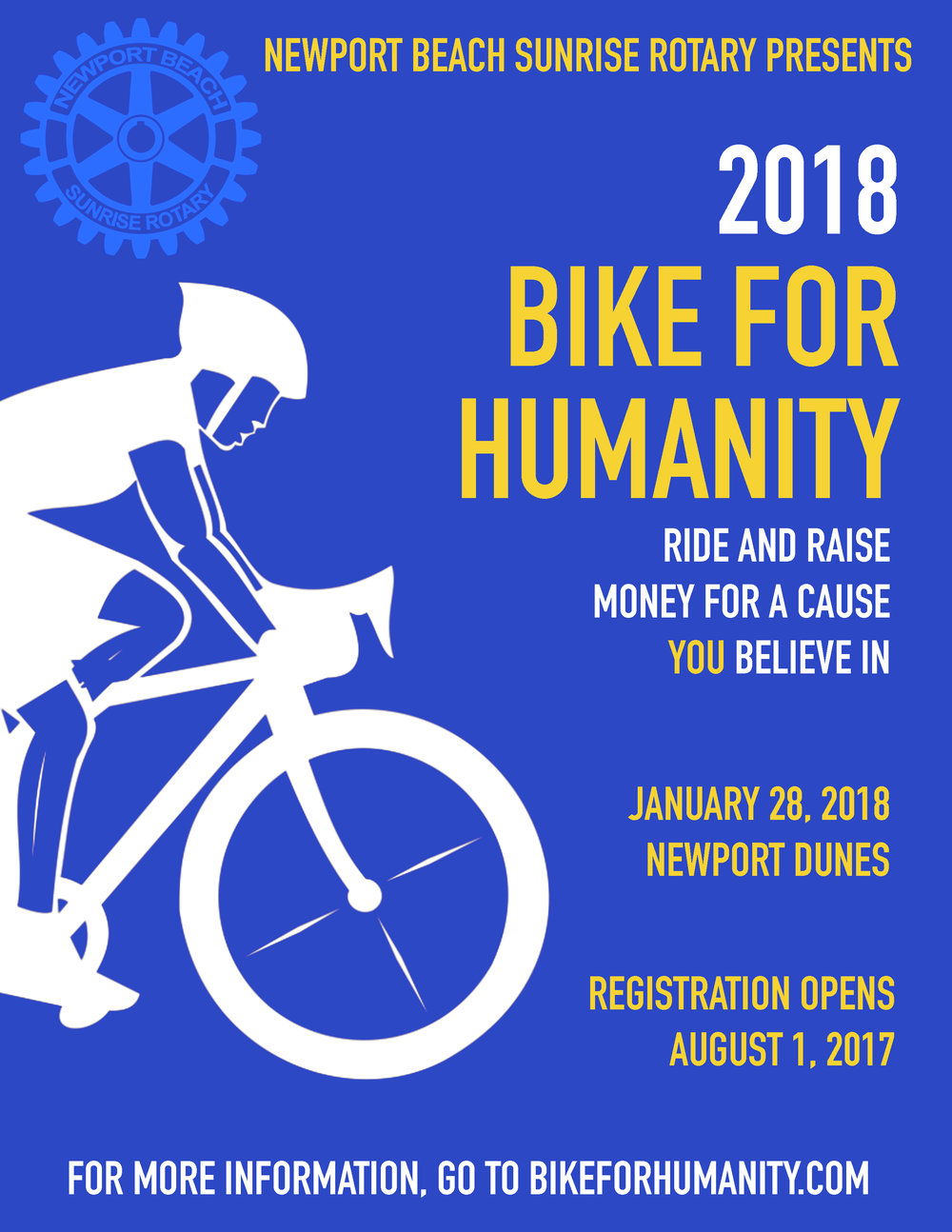 Event flyer for Newport Beach Sunrise Rotary's Bike for Humanity event.