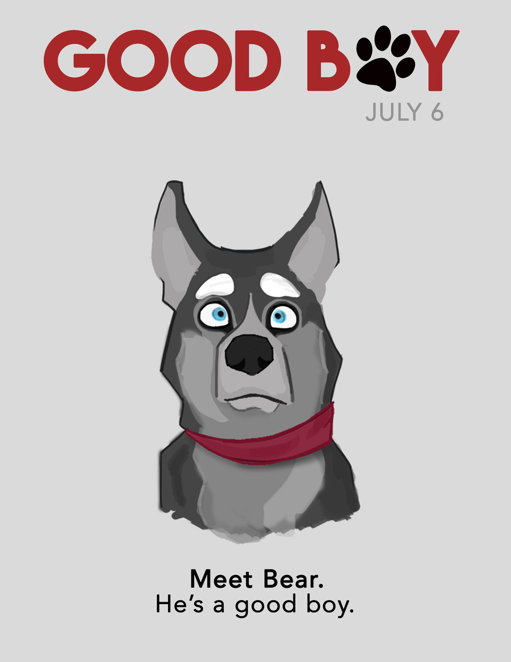 Print ad design for the marketing of student film,  Good Boy  (2/3)