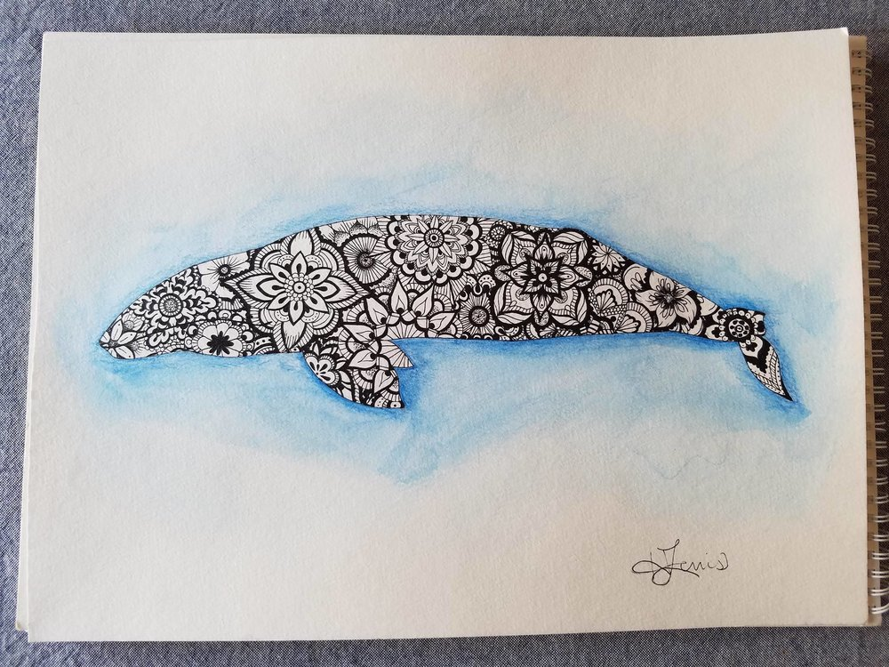 Gray Whale Mandala Art