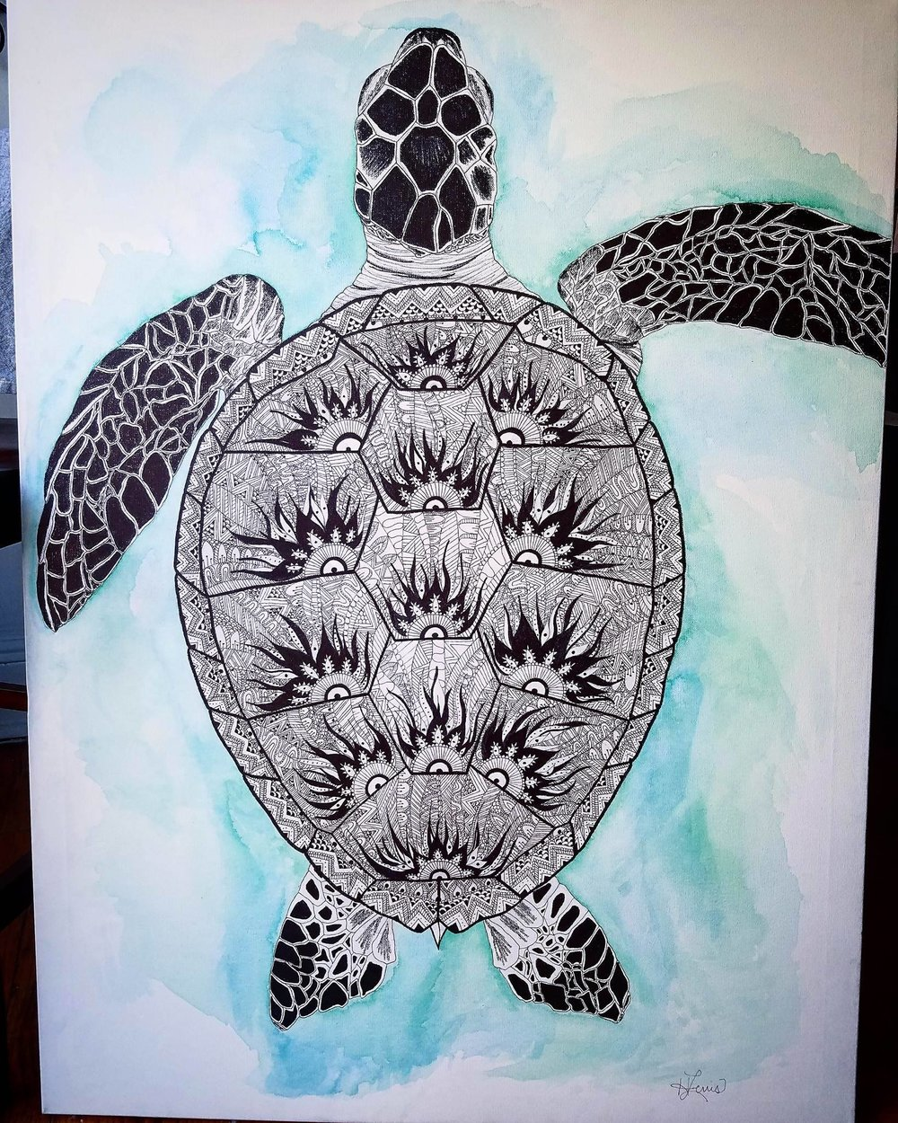Sea Turtle Mandala Art