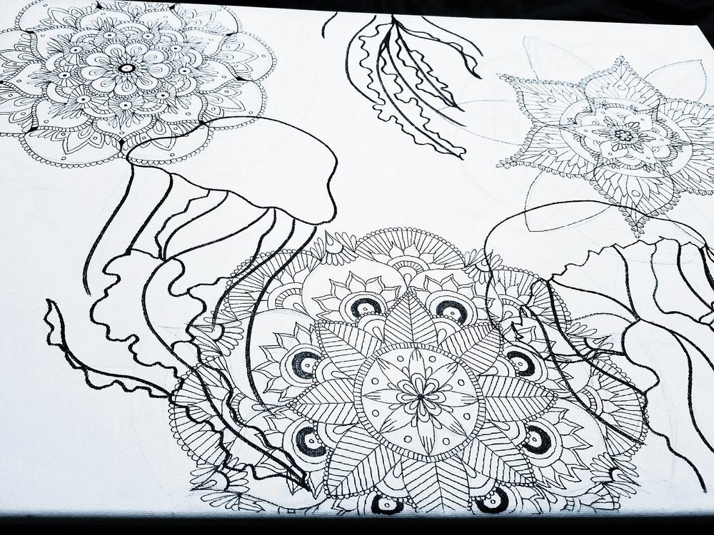 Jelly Fish Mandala Art