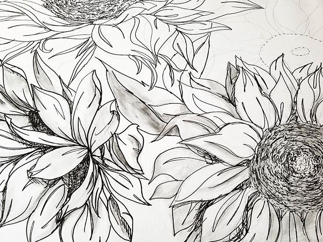 Next WIP.  Come check it out at the @glenwoodaveartsfest just around the corner.  #wip #sunflower #art #artistsofinstagram #artfestival #sharpie #watercolor #drawing #bloomingintherough #blackandwhite
