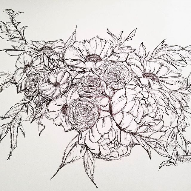 It still feels unfinished.  I think I'll add some black watercolor shading.  #bloomingintherough #artistsofinstagram #art #sharpie #drawing #messy #beautifulmess #bouquet #floralarrangement #flower