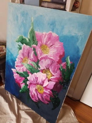 Large, textured oil painting of peonies.