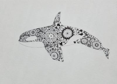 Sea Creature series update - orca mandala
