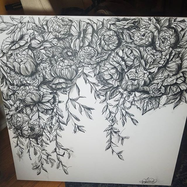 Sorry it's been a while.  The holidays were crazy!  Here's my latest piece.  Thinking about doing a series of these, what do you think?  #bloomingintherough  #floralart #flowers #ink #blackandwhite #art #artistsoninstagram #artistsofinstagram #canvas #bouquet #blooming #drawing #painting