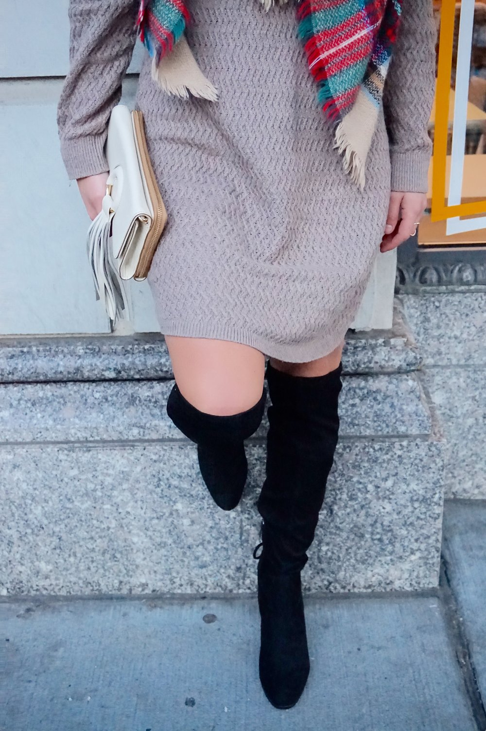 Black suede over the knee boots with sweater dress and scarf