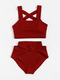 Criss cross high waist bikini - $13