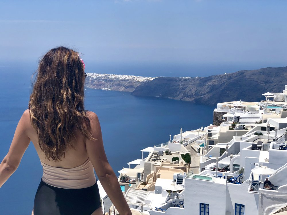 Wearing one of my new Forever 21 one-piece swimsuits on our honeymoon in Santorini, Greece.