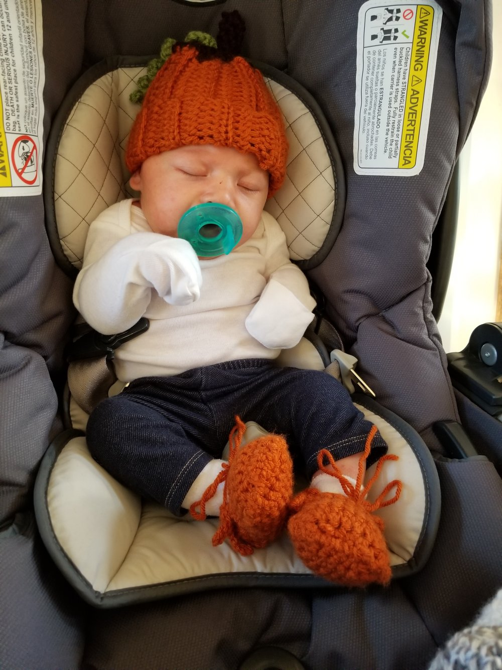 Made the hat and moccasins for our little pumpkin!
