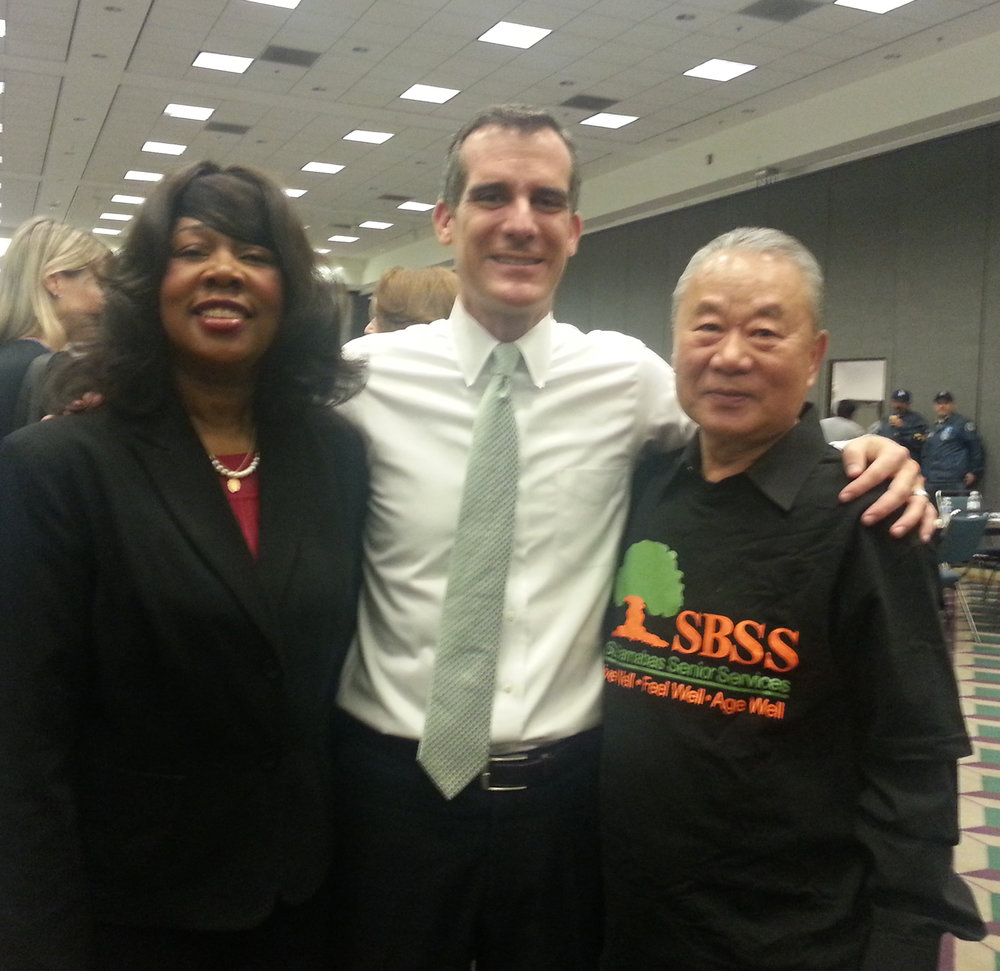 Mayor Eric Garcetti with AGEnts for Change