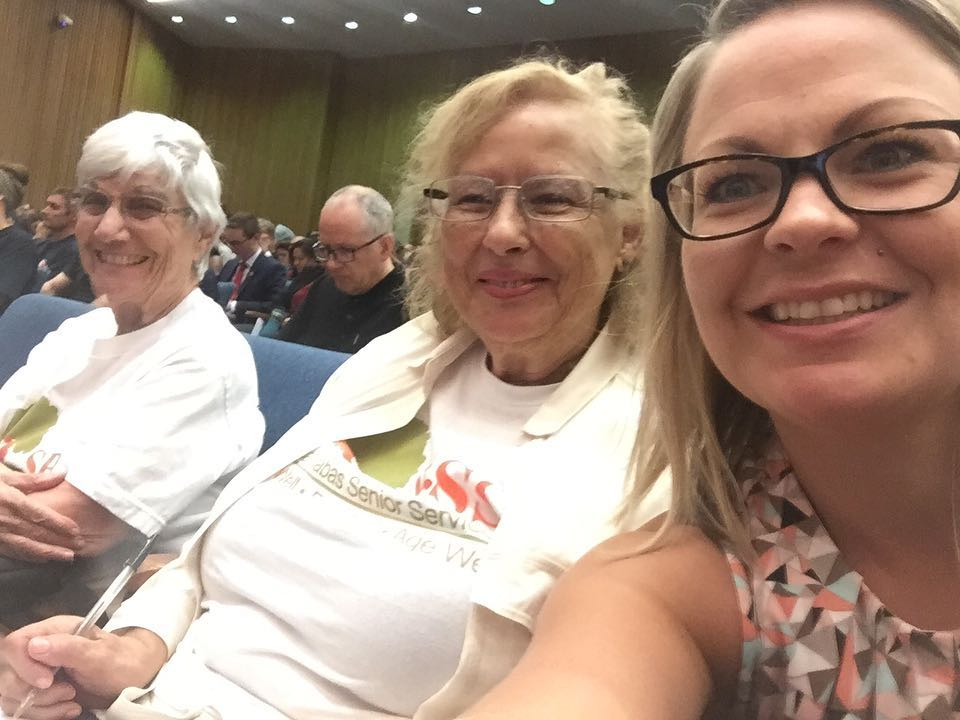 Sylvia advocating at a Town Hall meeting with fellow AGEnt for Change, Stephanie Vendig and SBSS Director of Government Relations & Advocacy, Brandi Orton.