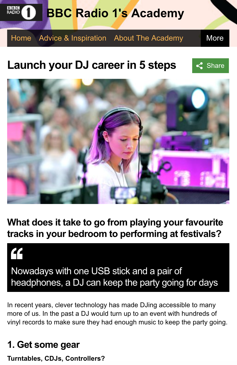 RADIO 1 ACADEMY ADVICE PAGE