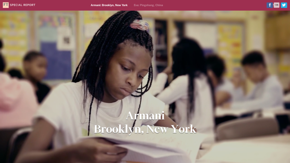 Armani Adams-Smith completes her school work at CPNYC's after school program.